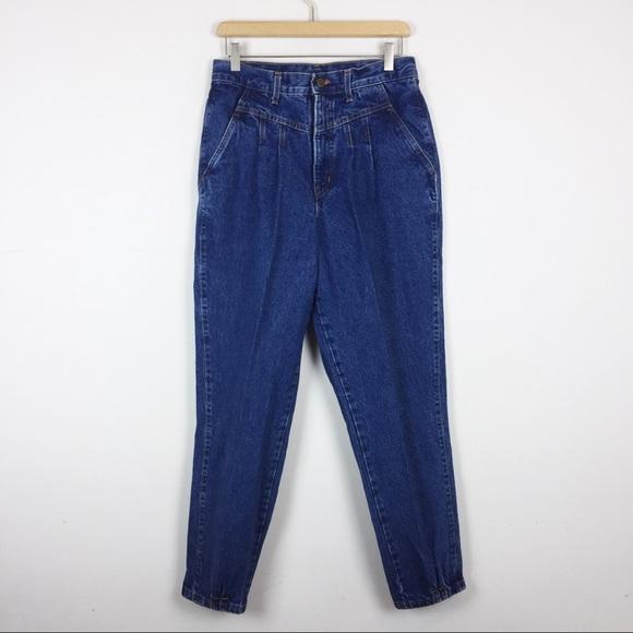 Vintage high waisted pleated mom jeans 80s dark